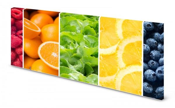 Magnettafel Pinnwand Bild Küche Obst Gemüse bunt gekantet