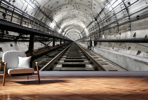 Vlies Tapete Poster XXL Fototapete 3D Tunnel U-Bahn Gleis