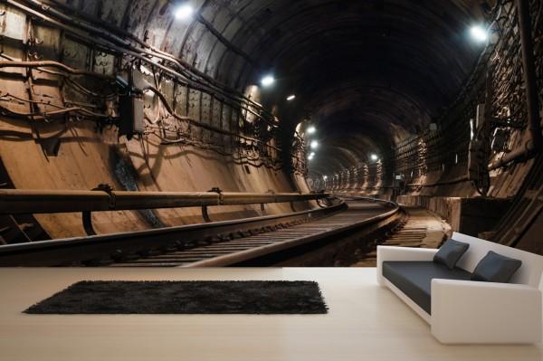 Vlies Tapete Poster XXL Fototapete 3D Tunnel Subway Metro Gleis