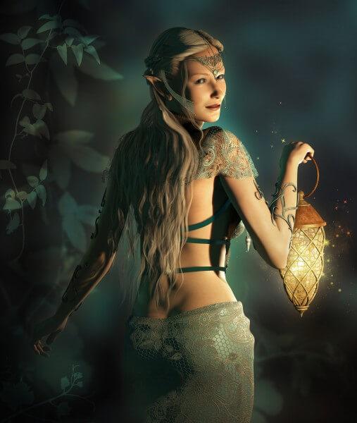 Poster Fototapete Fantasy Elfen-Lady