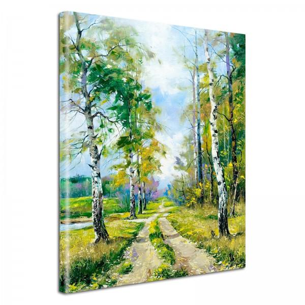 Leinwandbild Gemälde Birken am Weg
