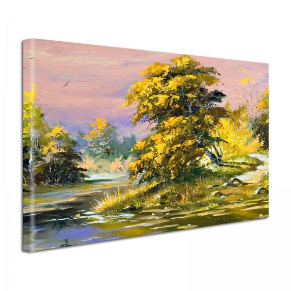 Leinwandbild Gemälde Hügellandschaft