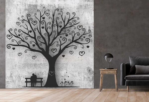 Vlies Tapete Betonoptik Poster Fototapete Tribal Love Heart Tree