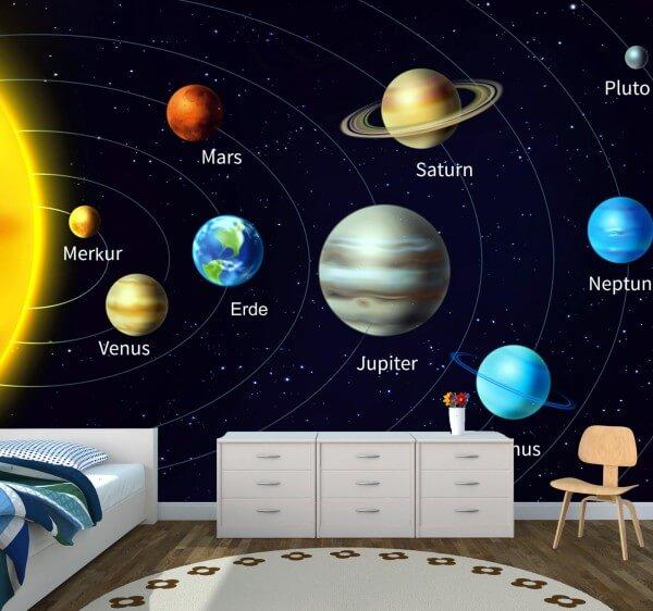 Kinderzimmer Tapete Vlies XXL-Poster Fototapete Weltraum Weltall