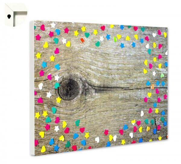 Magnettafel Pinnwand Muster Holz Konfetti