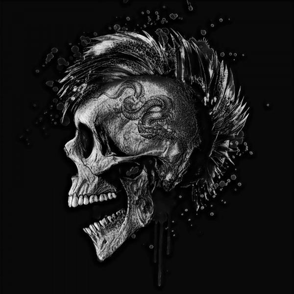 Vlies Tapete XXL Poster Fototapete Totenkopf Iro Punk Drache Tattoo