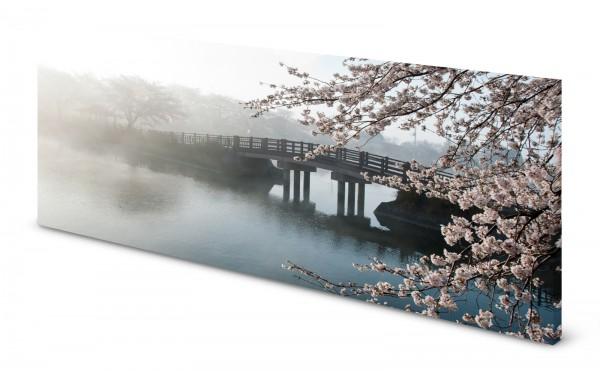 Magnettafel Pinnwand Bild Natur Nebel Brück Kirschblüte gekantet