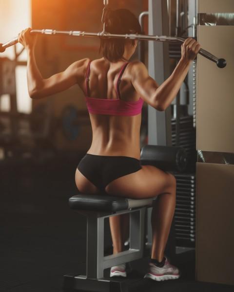 Vlies Tapete XXL Poster Fototapete Gym sexy Lady Latzug Po