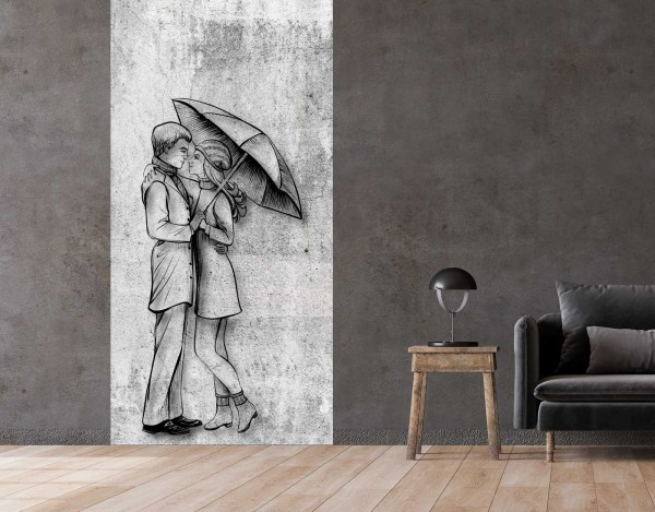 Vlies Tapete Betonoptik Poster Fototapete Tribal Paar Regen Romantik
