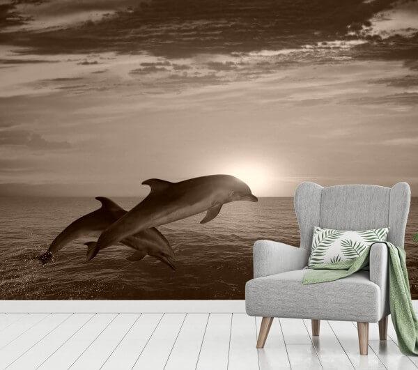 Vlies Tapete XXL Poster Fototapete Delfin Meer Sprung Sonnenuntergang