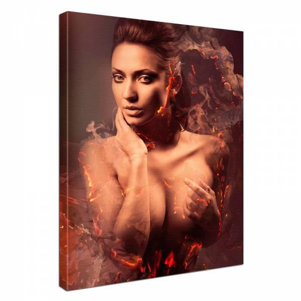 Leinwand Bild edel Erotik Fire Lady burn
