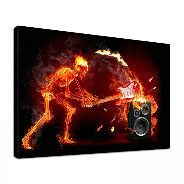 Leinwandbild Burn Skelett und Gitarre vs. Lautsprecher in Flammen