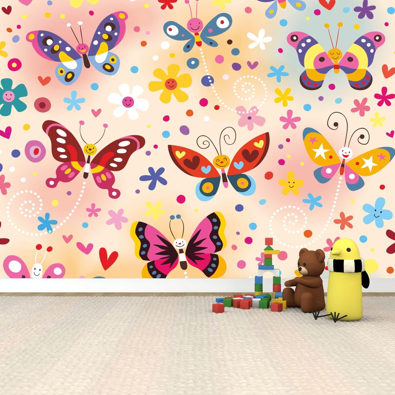 Kinderzimmer Tapete Vlies XXL-Poster Fototapete Schmetterlinge bunt rosa