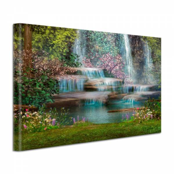 Leinwand Bild edel Fantasy Natur Wasserfall