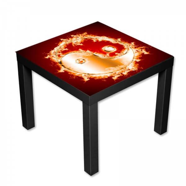 Beistelltisch Couchtisch mit Motiv Yin und Yang in Flammen
