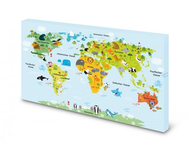 Magnettafel Pinnwand Bild Weltkarte Landkarte für Kinder gekantet