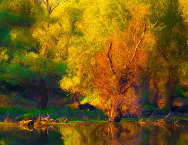 Leinwandbild Gemälde Blumen im Herbstfeuer