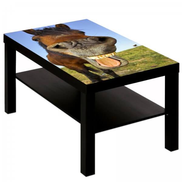 Couchtisch Tisch mit Motiv Tiere lachendes Pferd