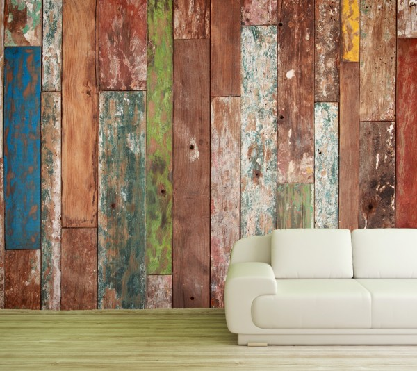Vlies Tapete Poster XXL Fototapete Holz Planken bunt vintage