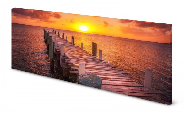 Magnettafel Pinnwand Bild Sonnenaufgang Morgenrot Meer Steg gekantet