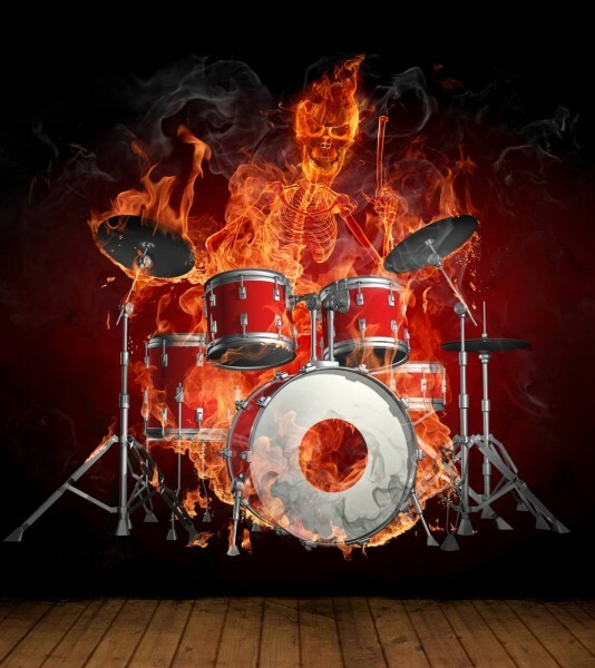 Vlies XXL Poster Fototapete Tapete Flammen Burn brennendes Skelett mit Schlagzeug