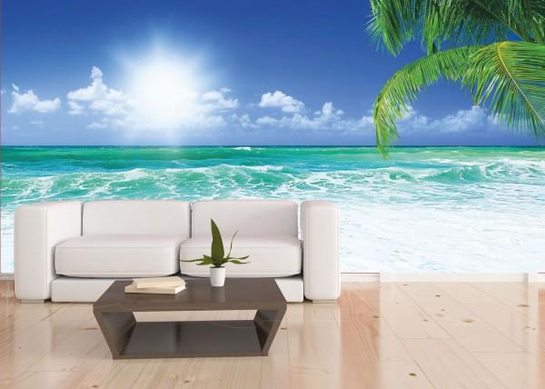 Vlies XXL Poster Fototapete Tapete Palmen Meer Karibik Sonnenschein