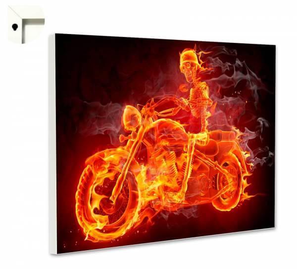 Magnettafel Pinnwand mit Motiv Skelett Bike in Flammen