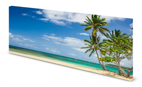 Magnettafel Pinnwand Bild Meer türkis Palmen Strand gekantet