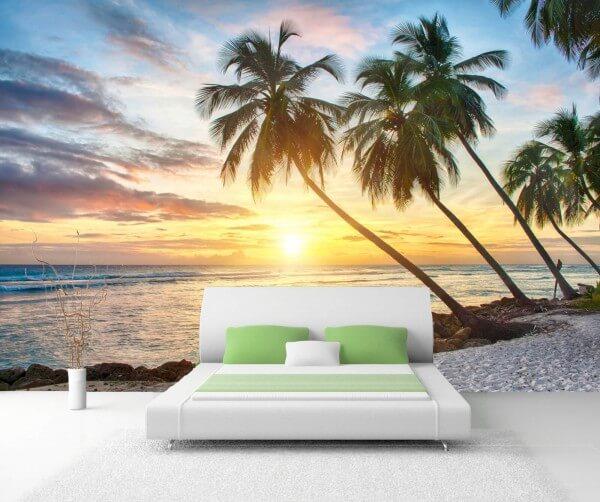 Vlies XXL-Poster Tapete Fototapete Natur Palmen Am Strand