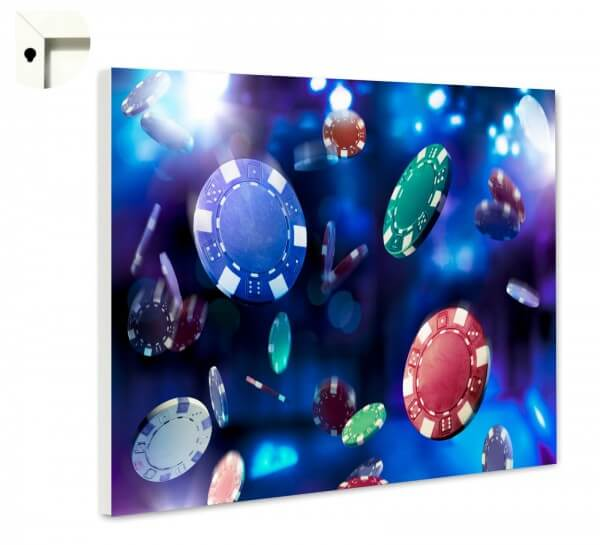 Magnettafel Pinnwand Casino Jetons in lila und blau