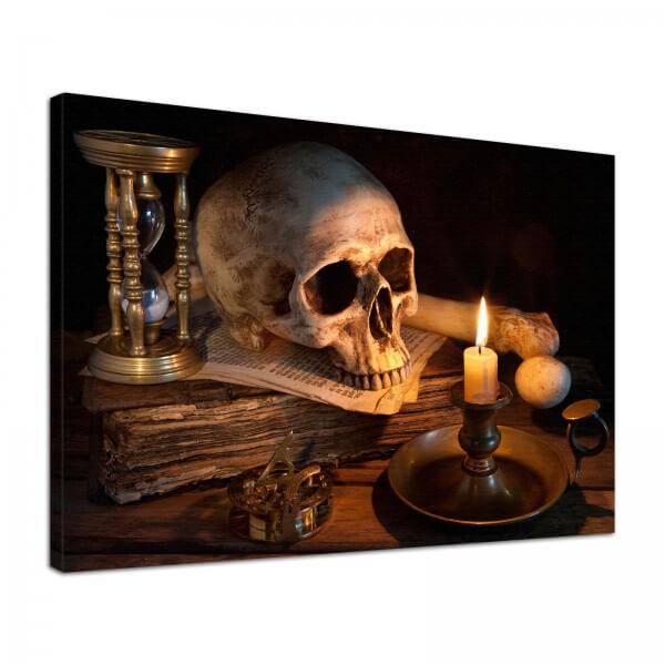 Leinwand Bild edel Gothic Totenkopf Skull Sanduhr
