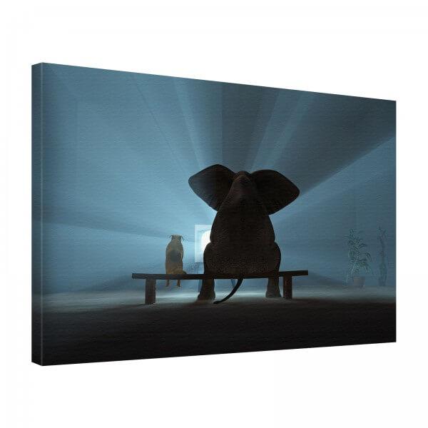 Leinwand Bild edel Tiere Elefant & Hund TV