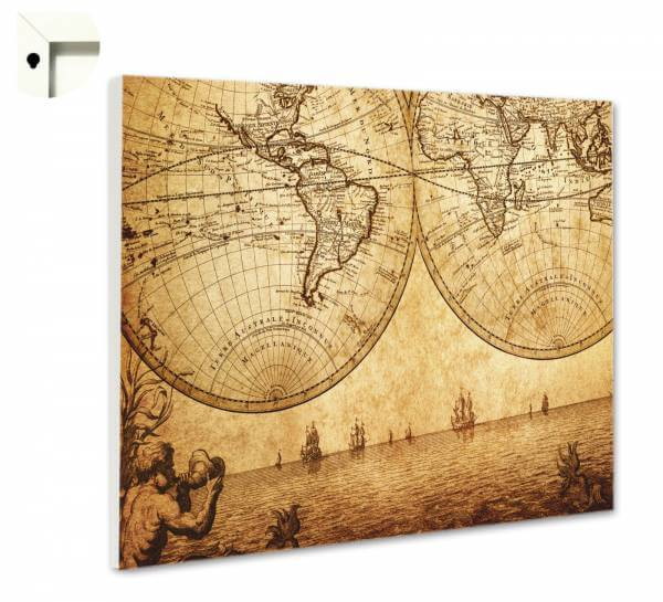 Magnettafel Pinnwand Weltkarte Globus Antik