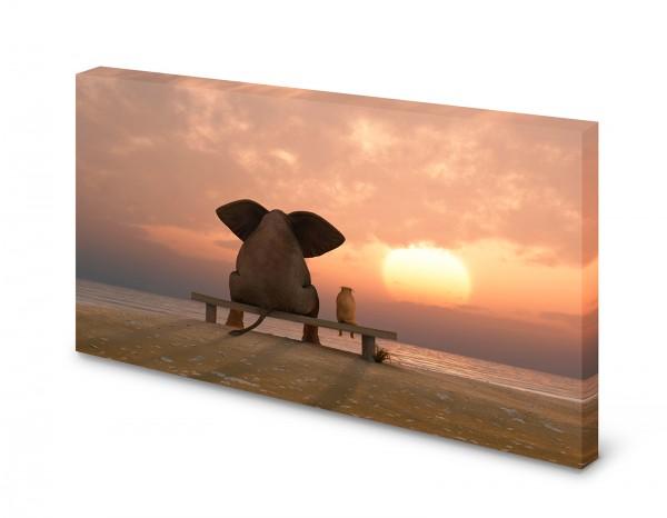 Magnettafel Pinnwand Bild Elefant Hund Freundschaft XXL gekantet