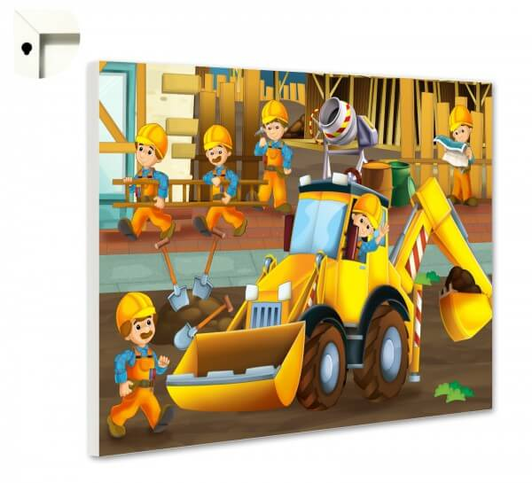 Magnettafel Pinnwand Kinder Bauarbeiter & Bagger