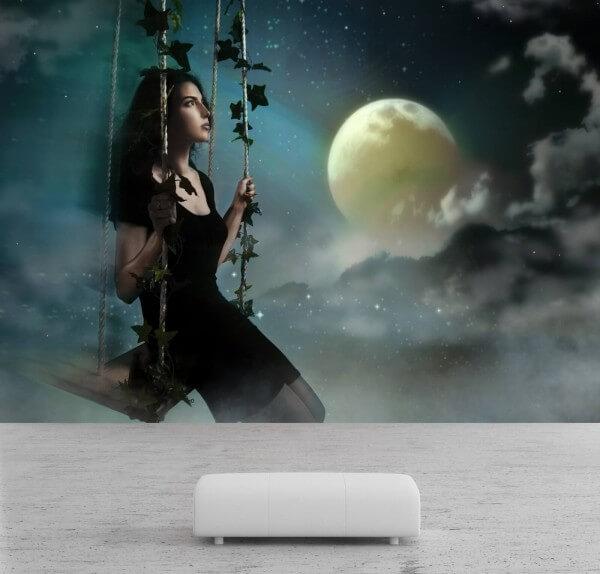 Vlies Tapete Poster Fototapete Fantasy Mädchen Mond Schaukel