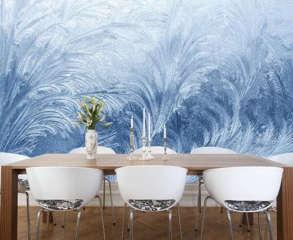 Vlies XXL-Poster Fototapete Muster blau Eis Blume