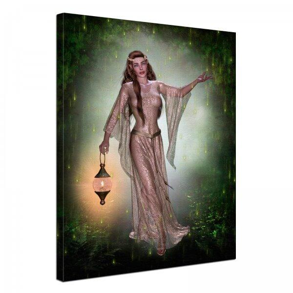 Leinwand Bild edel Fantasy Gothic Elfen Mädchen