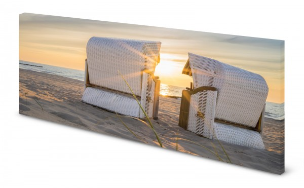Magnettafel Pinnwand Bild Strandkorb Sonnenuntergang Natur gekantet