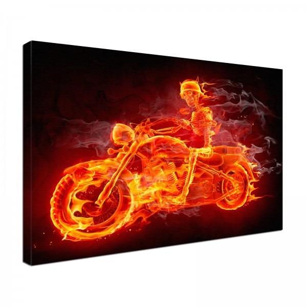 Leinwandbild Burn Flammen Bike
