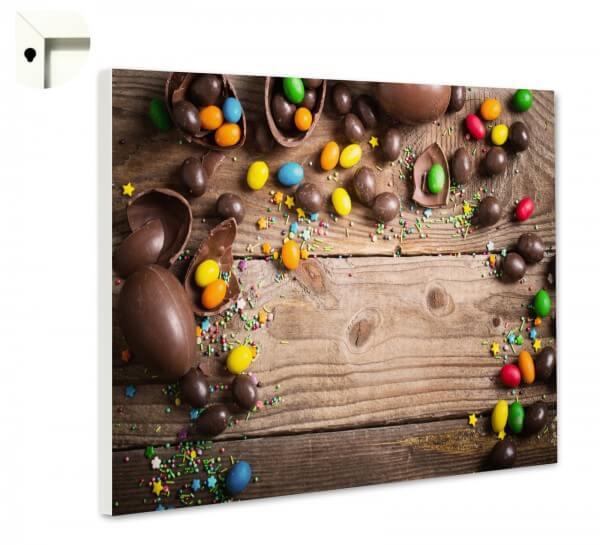Magnettafel Pinnwand Küche Schoko Eier auf Holz