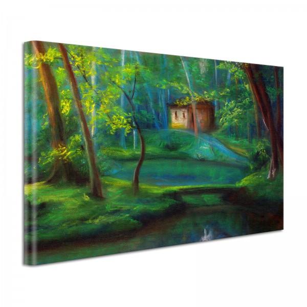 Leinwandbild Gemälde Waldhäuschen