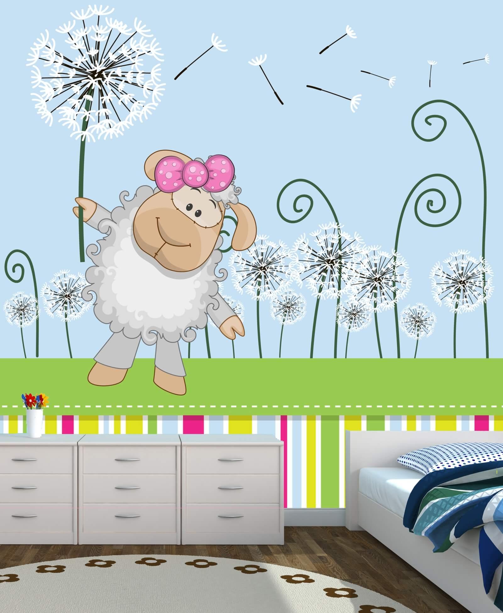Vlies Tapete Poster Fototapete Kinderzimmer Schaf rosa cute