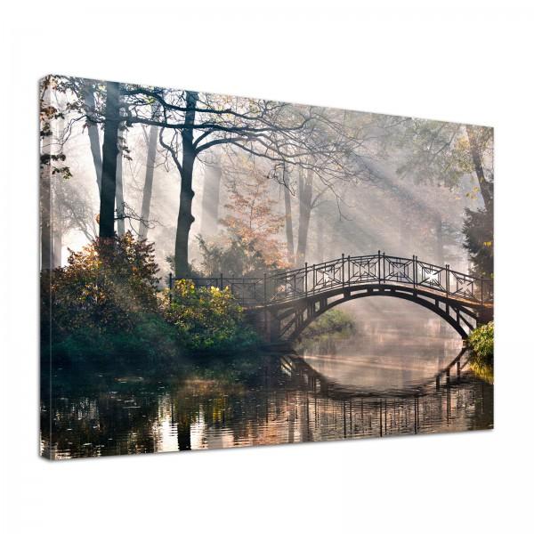 Leinwand Bild edel Natur Brücke am Fluss