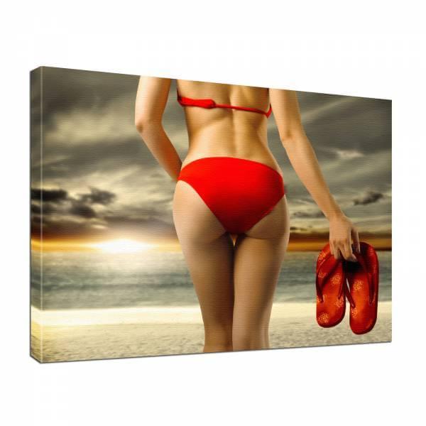 Leinwand Bild edel Erotik Bikini in rot