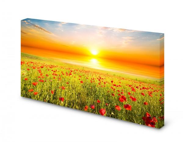 Magnettafel Pinnwand Bild Mohnblumen Feld Sonnenaufgang