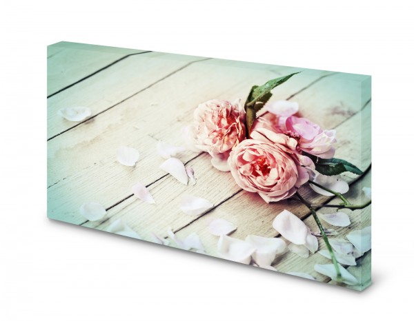 Magnettafel Pinnwand Bild Shabby Chic Holz Holzplanken Rose gekantet
