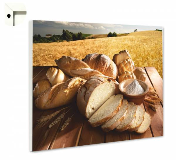 Magnettafel Pinnwand mit Motiv Küche Natur Brot & Weizen