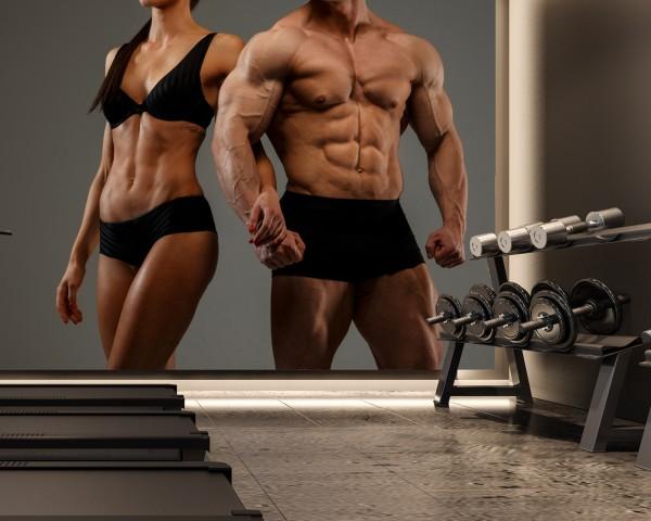 Vlies Tapete XXL Poster Fototapete Sport Fitness Muskeln Paar