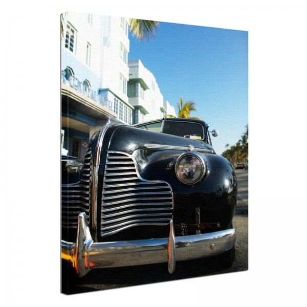 Leinwand Bild edel Oldtimer Kuba 2 black & white